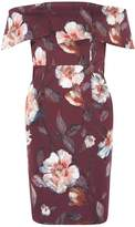 Dorothy Perkins Petite Wine Floral Print Bardot Pencil Dress