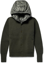 Incotex - Ribbed Virgin Wool Cardigan With Detachable Hooded Down Gilet
