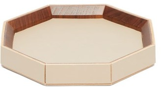 Rabitti 1969 - Coste Valet Large Leather And Walnut-wood Tray - Beige