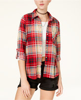Polly and Esther Juniors' Plaid Roll-Tab Shirt