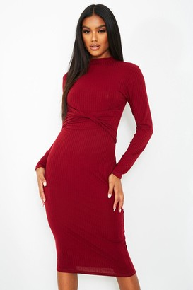 boohoo Rib Twist Cut Out Back Midi Dress