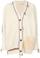 Tory Burch plaited trim cardigan with fur pocket