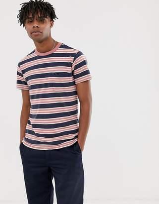 RVCA Lucas Stripe t-shirt in blue/red-Multi
