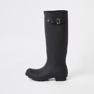 Hunter Wellies River Island Womens Hunter Original Black tall wellington boots