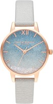 Olivia Burton Wishing Waves Shimmer Leather Strap Watch, 30mm
