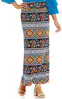 I.N. Studio Multi Boho Stripe Print Knit Pull-On Maxi Skirt