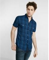 Express Plaid Short Sleeve Button-up Shirt