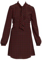 Saint Laurent Long-Sleeve Tie-Neck Star-Print A-Line Shirtdress