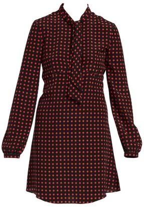 Saint Laurent Long-Sleeve Tie-Neck Star-Print A-Line Shirtdress