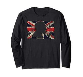 Detective British Union Jack UK Flag Novelty Cool Gift Long Sleeve T-Shirt