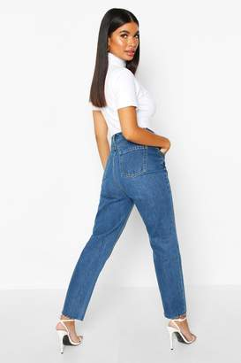 boohoo Petite Distressed Mid Wash Raw Hem Mom Jeans