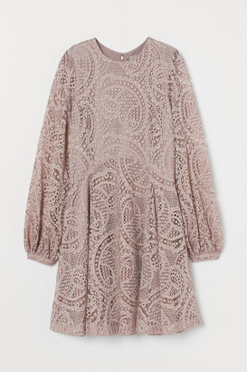 H&M Lace Skater Dress - Brown
