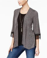 NY Collection Petite Lace-Trim Layered Look