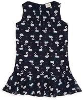Armani Junior Girls' Swan Print Drop-Waist Dress - Little Kid
