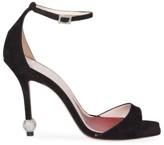 Roger Vivier I Love Vivier Embellished-Heel Suede Sandals