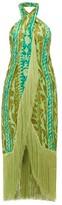 Cult Gaia Bianca Printed-silk Midi Dress - Womens - Green