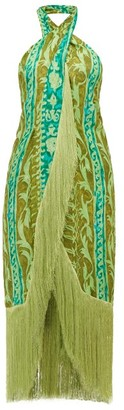 Cult Gaia Bianca Printed-silk Midi Dress - Womens - Green
