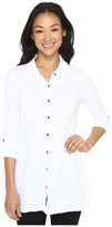 Mod-o-doc Slub Jersey Button Up Long Sleeve Shirt Women's Clothing