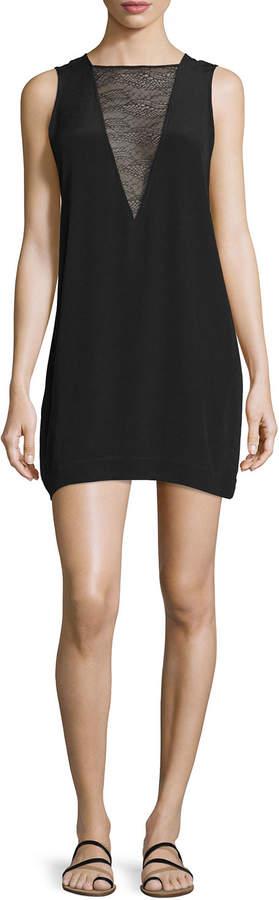 IRO Maelie Sleeveless Lace-Trim Mini Dress, Black