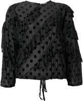 Hache ruffled polka dot blouse