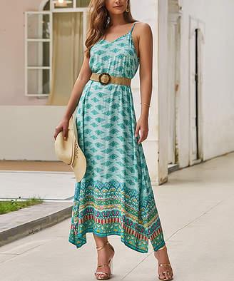 Gaovot Women's Casual Dresses green - Green Geometric Maxi Dress - Women