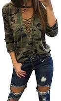ABD Womens V Neck Long Sleeve Camouflage Print Bandage Loose Blouse T-Shirt Top