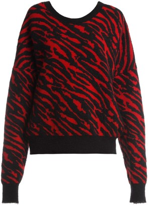Unravel Project Chopped Zebra-Print Sweatshirt