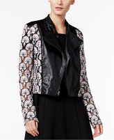 Y-yigal YYIGAL Lace Faux-Leather Moto Jacket, a Macy's Exclusive Style
