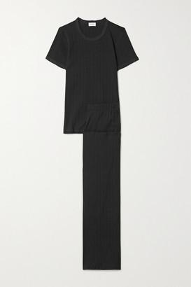Leset Pointelle-knit Cotton-jersey Pajama Set - Black
