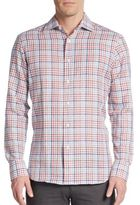 Saks Fifth Avenue Plaid Linen & Cotton Sportshirt
