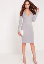 Missguided Long Sleeve Ponte Plunge Midi Dress Grey