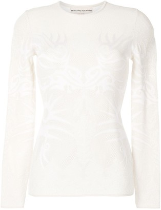 Ermanno Scervino Floral-Embroidered Mesh Top
