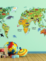 Kids World Map Wall Decals