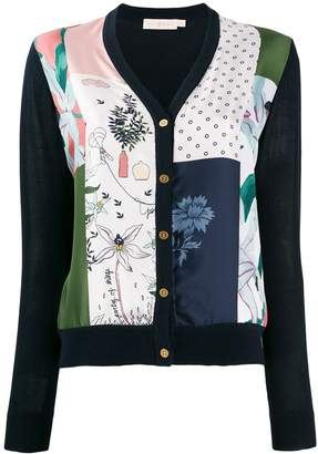 Tory Burch patchwork v-neck cardigan