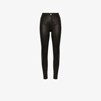 Frame Le Sylvie High Rise Straight Leg Leather Trousers