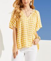 Suzanne Betro Women's Tunics 102YELLOW/WHITE - Yellow & White Grommet-Accent Notch Neck Top - Women & Plus