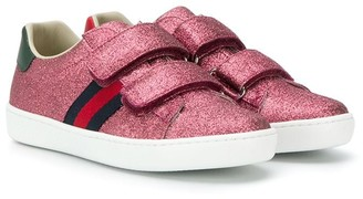 Gucci Kids glitter strapped sneakers