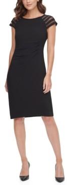 Jessica Howard Petite Illusion Cap-Sleeve Sheath Dress
