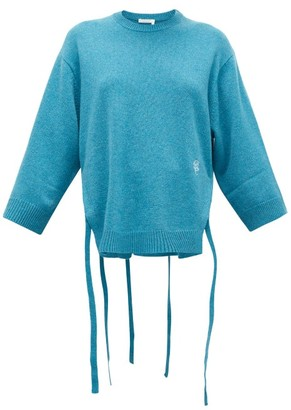Chloé Iconic Monogram-embroidered Cashmere Sweater - Womens - Mid Blue