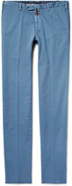Isaia Slim-fit Stretch-cotton Twill Chinos - Blue