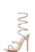 Quiz Gold Diamante Spiral Heel Sandals