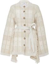 Barrie Asymmetric Woven Cashmere Cardigan
