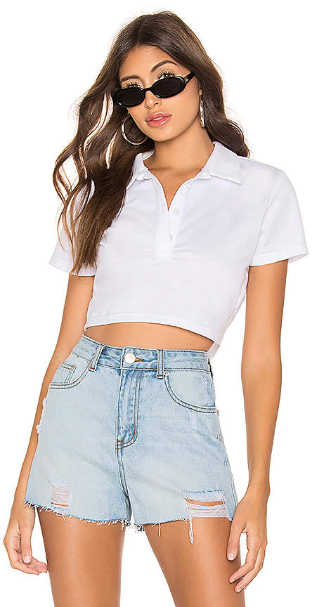 superdown Bernice Cropped Polo Top