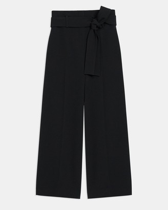 Theory Belted Cropped Pant in Crepe