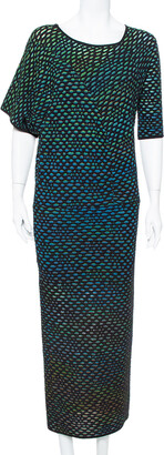M Missoni Multicolor Dobby Knit Short Sleeve Maxi Dress S