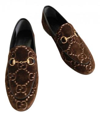 Gucci Jordaan Brown Velvet Flats