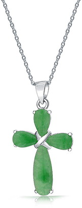 Bling Jewelry Sterling Silver Green Jade Cross Pendant Necklace