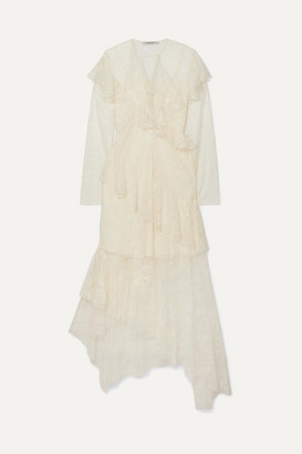 Philosophy di Lorenzo Serafini Asymmetric Ruffled Lace Midi Dress - Ivory