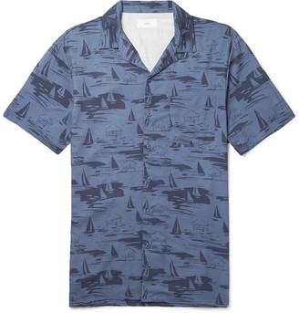 Onia Vacation Camp-Collar Printed Woven Shirt