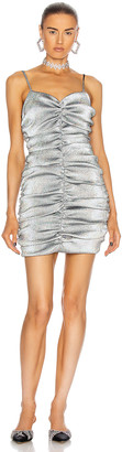 Area Ruched Mini Dress in Silver Hologram | FWRD